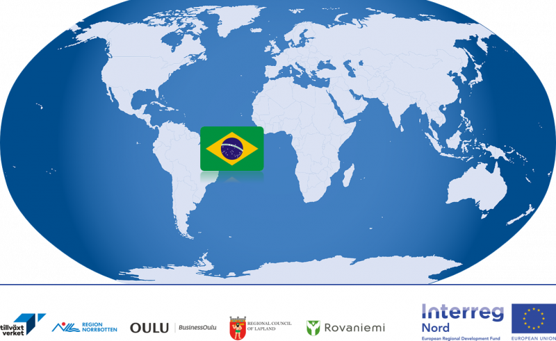 Earth with Brazil flag and partner logos