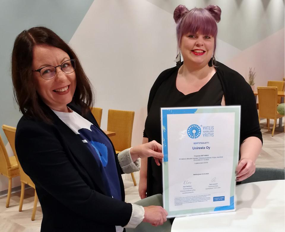 Suomalaisen Työn Liitto on myöntänyt Yhteiskunnallinen Yritys -merkin Uniresta Oy:lle